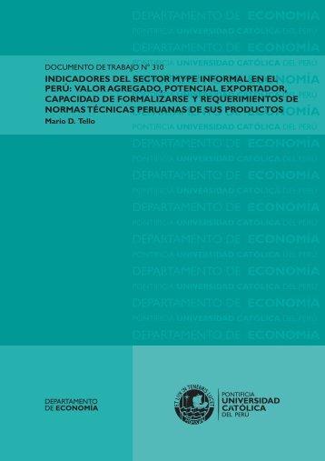 Indicadores del sector MYPE informal en el Perú: valor agregado ...
