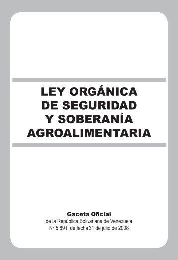 ley organica de seguridad y soberania agroalimentaria