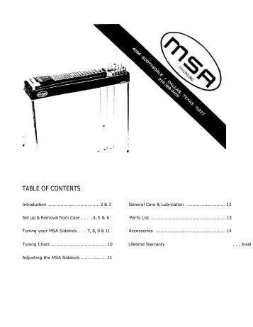 MSA Sidekick Owner's Manual - Carter Steel Guitars