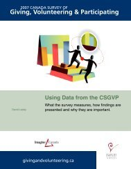 Using Data from the CSGVP 2007 - Imagine Canada