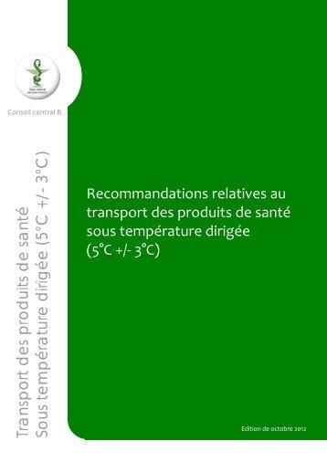 Recommandations relatives au transport des produits de santé sous ...