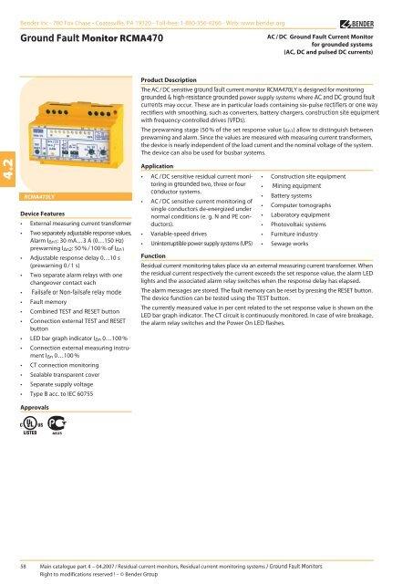 BENDER RCMA470LY GROUND FAULT MONITOR