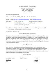 Principles of Marketing Syllabus - UCO College of Business