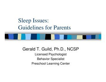 Sleep Issues: Guidelines for Parents - Preschool Learning Center