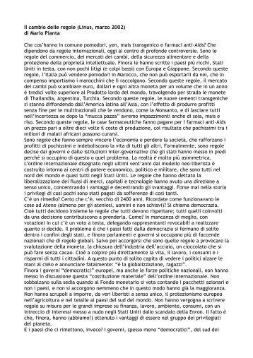 Il cambio delle regole (Linus, marzo 2002) di Mario Pianta Che cos ...