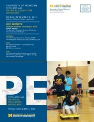 18th annual physical education workshop university of michigan ...