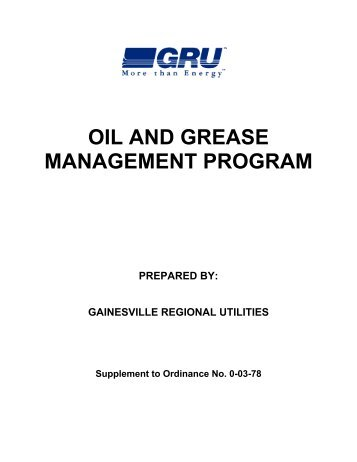Oil and Grease Manual - Gainesville Regional Utilities