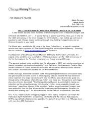 FOR IMMEDIATE RELEASE - Chicago History Museum