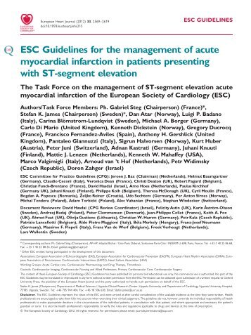 ESC Guidelines on ST segment elevation acute myocardial infarction