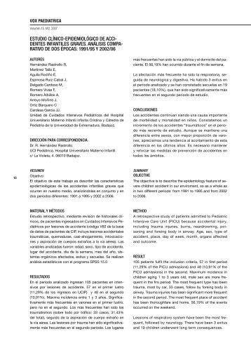 estudio clínico-epidemiológico de acci - Sociedad de Pediatría de ...