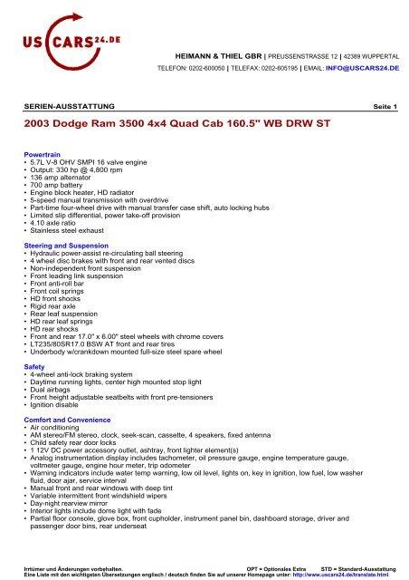"""2003 Dodge Ram 3500 4x4 Quad Cab 160.5"""" WB DRW ST"""