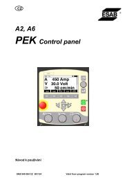 A2, A6 PEK Control panel - Products - Esab