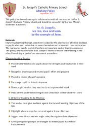 St. Joseph's Catholic Primary School Marking Policy At. St. Joseph's ...