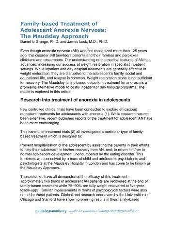 Family-based Treatment Of Adolescent Anorexia ... - Maudsley Parents