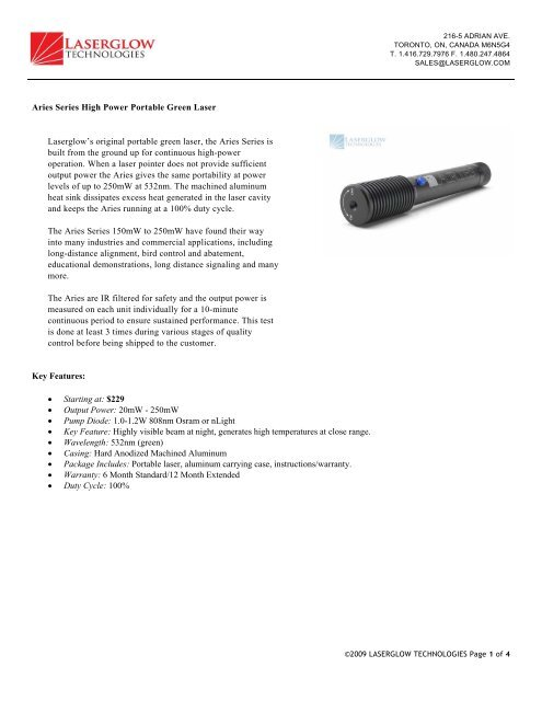 Aries Series High Power Portable Green Laser - Laserglow