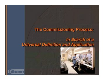 The Commissioning Process - Lawrence Berkeley National Laboratory