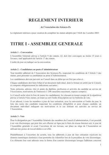 Reglement interieur chapitre i si ge et fiaf for Reglement interieur association pdf