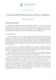 L'economia delle Province autonome di Trento e di Bolzano