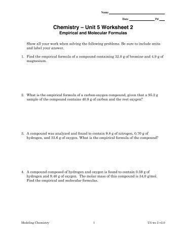 Worksheet: Empirical and Molecular Formulas