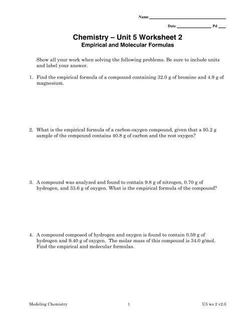Chemistry Unit 5 Worksheet 2