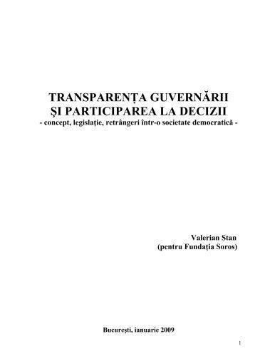 Studiu Transparenta guvernarii si participarea la ... - Valerian Stan