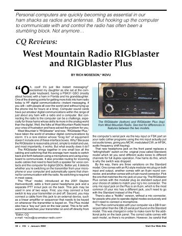 RIGblaster M8, Plus CQ review - West Mountain Radio
