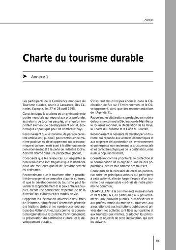 Charte du tourisme durable - Le tourisme solidaire