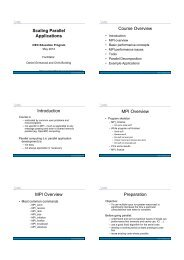 Scaling Parallel Applications Course Overview Introduction ... - iVEC