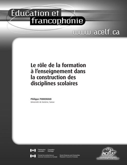 Le rôle de la formation à l'enseignement dans la construction ... - acelf