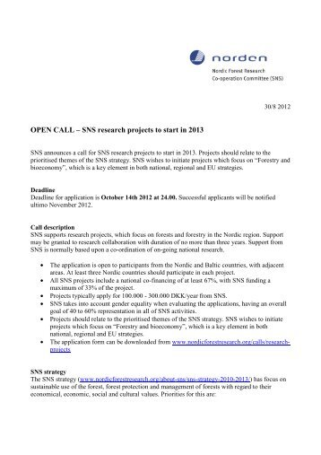 SNS research project call text