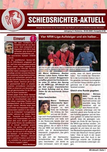 SR-Aktuell 6 -2009 - Fußball und Leichtathletik Verband Westfalen eV