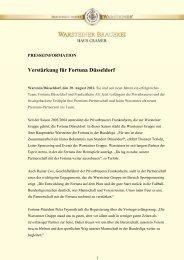Verstärkung für Fortuna Düsseldorf - Warsteiner Gruppe