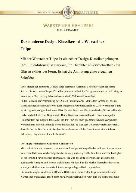 die Warsteiner Tulpe  - Warsteiner Gruppe