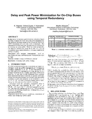 Delay and Peak Power Minimization for On-Chip ... - Publications