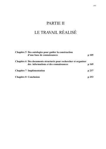 PARTIE II LE TRAVAIL RÉALISÉ