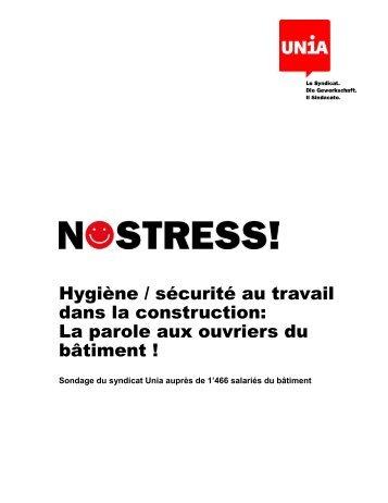 Rapport d'Unia Suisse sur sa campagne NOSTRESS! - BWI