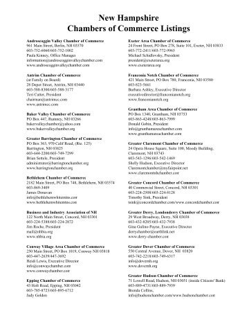 22 New Hampshire Chambers of Commerce Listings