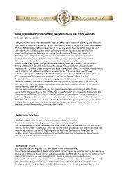 Eine besondere Partnerschaft: Warsteiner und ... - Warsteiner Gruppe