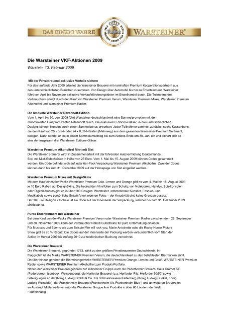 Die Warsteiner VKF-Aktionen 2009 - Warsteiner Gruppe