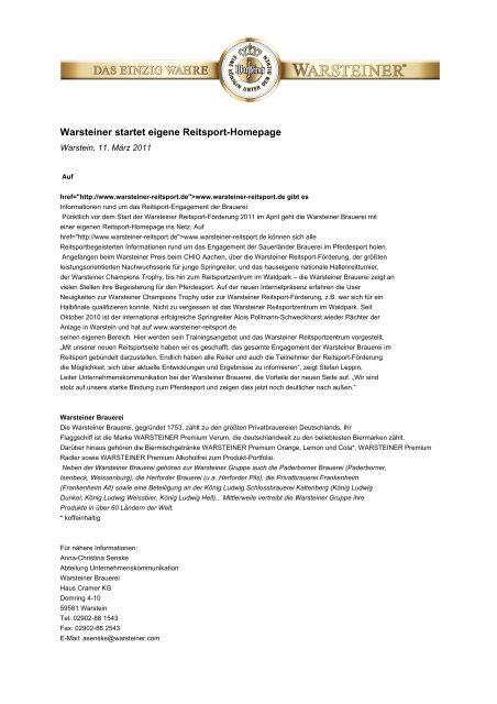 Warsteiner startet eigene Reitsport-Homepage - Warsteiner Gruppe
