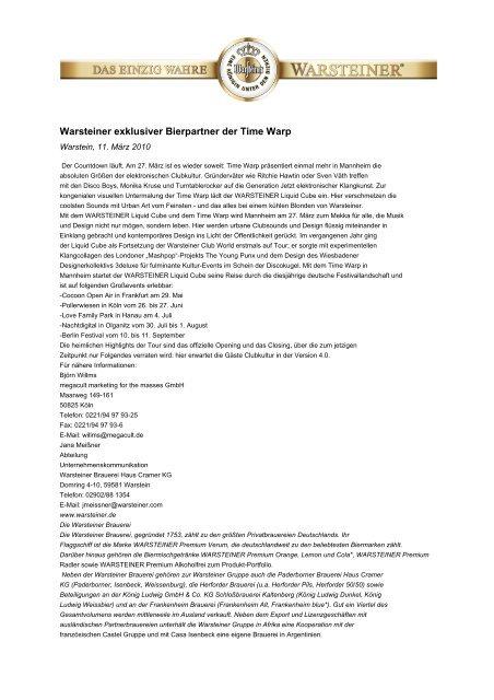 Warsteiner exklusiver Bierpartner der Time Warp - Warsteiner Gruppe