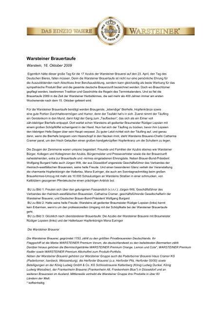 Warsteiner Brauertaufe - Warsteiner Gruppe