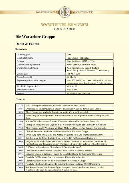 Die Warsteiner Gruppe Daten & Fakten