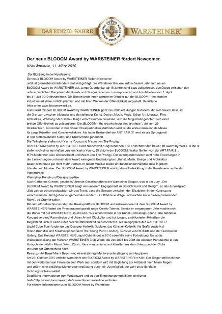Der neue BLOOOM Award by WARSTEINER ... - Warsteiner Gruppe