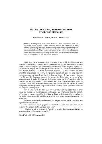 MULTILINGUISME, MONDIALISATION ET GLOSSOTHANASIE