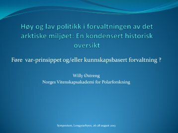 Høy og lav politikk i definisjonen av det (arktiske) miljøbegrepet over ...
