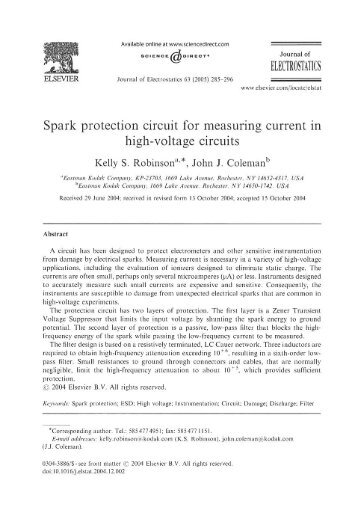 Spark protection circuit for measuring current in high-voltage circuits