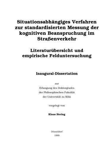Situationsabhängiges Verfahren zur standardisierten Messung der ...