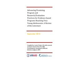 Advancing Promising Program and Research/Evaluation Practices ...