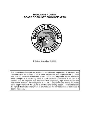 Personnel Manual - Highlands County